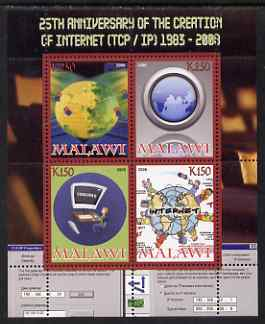 Malawi 2008 Internet 25th Anniversary perf sheetlet containing 4 values unmounted mint