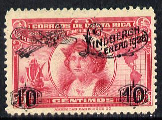 Costa Rica 1928 Lindbergh opt on 12c Columbus unmounted mint, SG 169