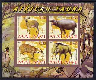Malawi 2008 African Fauna imperf sheetlet containing 4 values, each with Scout logo unmounted mint