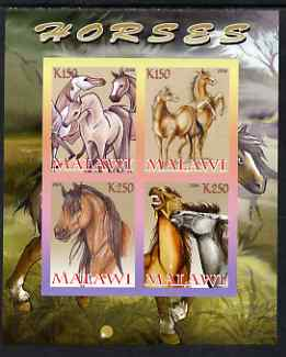 Malawi 2008 Horses imperf sheetlet containing 4 values unmounted mint