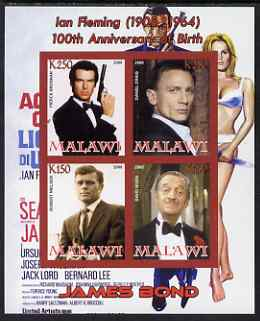 Malawi 2008 Ian Fleming 100th Birth Anniversary (James Bond) #2 imperf sheetlet containing 4 values unmounted mint