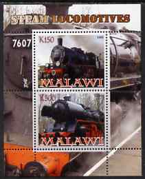 Malawi 2008 Steam Railways perf sheetlet #1 containing 2 values unmounted mint