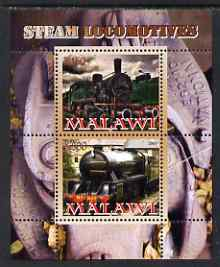 Malawi 2008 Steam Railways perf sheetlet #2 containing 2 values unmounted mint