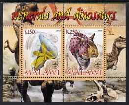 Malawi 2008 Minerals & Dinosaurs perf sheetlet #1 containing 2 values with Scout Logo unmounted mint