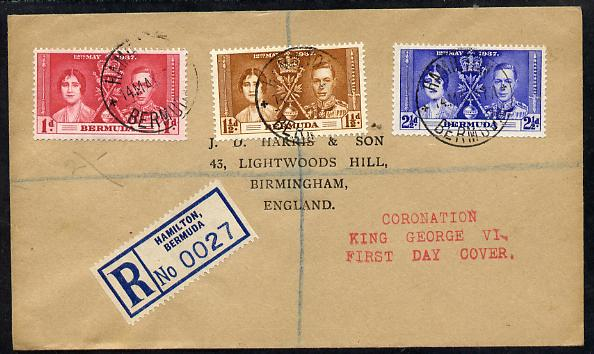 Bermuda 1937 KG6 Coronation set of 3 on cover with first day cancel addressed to the forger, J D Harris.  Harris was imprisoned for 9 months after Robson Lowe exposed him...