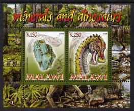 Malawi 2008 Minerals & Dinosaurs perf sheetlet #3 containing 2 values with Scout Logo unmounted mint