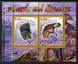 Malawi 2008 Minerals & Dinosaurs perf sheetlet #4 containing 2 values with Scout Logo unmounted mint