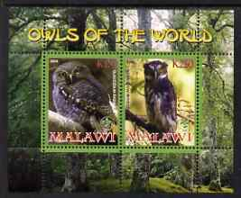 Malawi 2008 Owls of the World perf sheetlet #1 containing 2 values with Scout Logo unmounted mint