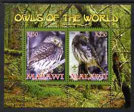 Malawi 2008 Owls of the World perf sheetlet #2 containing 2 values with Scout Logo unmounted mint
