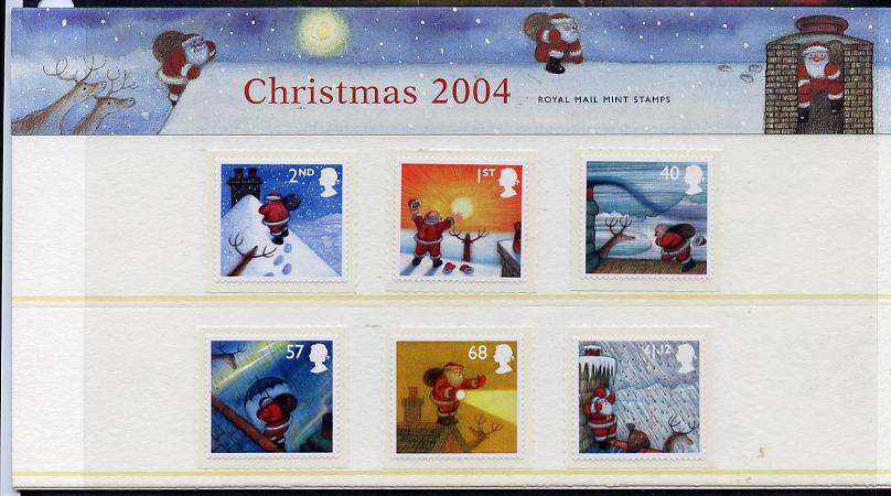 Great Britain 2004 Christmas self adhesive set of 6 values in official presentation pack unmounted mint, SG 2495-2500