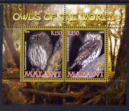 Malawi 2008 Owls of the World perf sheetlet #4 containing 2 values with Scout Logo unmounted mint