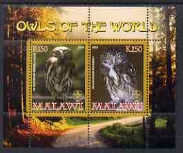 Malawi 2008 Owls of the World perf sheetlet #5 containing 2 values with Scout Logo unmounted mint