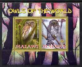 Malawi 2008 Owls of the World perf sheetlet #7 containing 2 values with Scout Logo unmounted mint