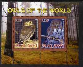 Malawi 2008 Owls of the World perf sheetlet #8 containing 2 values with Scout Logo unmounted mint