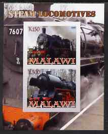 Malawi 2008 Steam Railways imperf sheetlet #1 containing 2 values unmounted mint