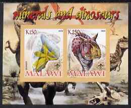 Malawi 2008 Minerals & Dinosaurs imperf sheetlet #1 containing 2 values with Scout Logo unmounted mint