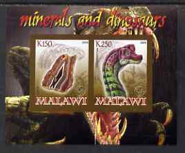 Malawi 2008 Minerals & Dinosaurs imperf sheetlet #2 containing 2 values with Scout Logo unmounted mint
