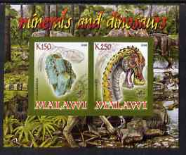 Malawi 2008 Minerals & Dinosaurs imperf sheetlet #3 containing 2 values with Scout Logo unmounted mint