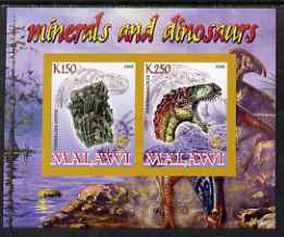 Malawi 2008 Minerals & Dinosaurs imperf sheetlet #4 containing 2 values with Scout Logo unmounted mint