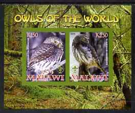 Malawi 2008 Owls of the World imperf sheetlet #2 containing 2 values with Scout Logo unmounted mint