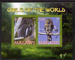 Malawi 2008 Owls of the World imperf sheetlet #3 containing 2 values with Scout Logo unmounted mint