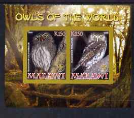 Malawi 2008 Owls of the World imperf sheetlet #4 containing 2 values with Scout Logo unmounted mint