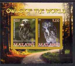 Malawi 2008 Owls of the World imperf sheetlet #5 containing 2 values with Scout Logo unmounted mint, stamps on birds, stamps on birds of prey, stamps on owls, stamps on scouts