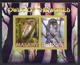 Malawi 2008 Owls of the World imperf sheetlet #7 containing 2 values with Scout Logo unmounted mint