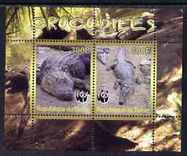 Benin 2008 WWF - Crocodiles perf sheetlet containing 2 values unmounted mint