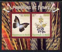 Benin 2008 Butterflies & Flowers perf sheetlet containing 2 values unmounted mint