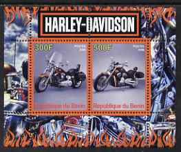 Benin 2008 Harley Davidson Motorcycles perf sheetlet containing 2 values unmounted mint