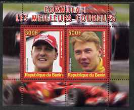 Benin 2008 Formula 1 - Great Drivers perf sheetlet #1 containing 2 values (M Schumacher & M Hakkinen) unmounted mint