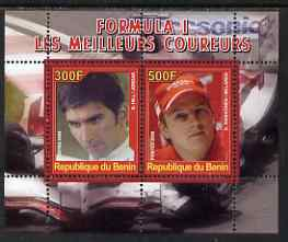 Benin 2008 Formula 1 - Great Drivers perf sheetlet #3 containing 2 values (D Hill & K Raikkonen) unmounted mint