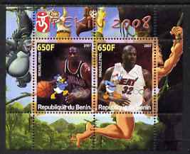 Benin 2007 Beijing Olympic Games #20 - Basketball perf s/sheet containing 2 values (Jordan & O'neil with Disney characters in background) unmounted mint