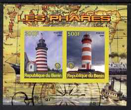 Benin 2008 Lighthouses imperf sheetlet containing 2 values with Rotary unmounted mint