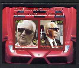 Benin 2008 Enzo Ferrari - 120th Birth Anniversary imperf sheetlet #2 containing 2 values with Rotary unmounted mint