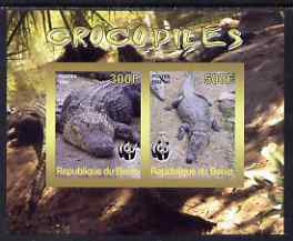 Benin 2008 WWF - Crocodiles imperf sheetlet containing 2 values unmounted mint