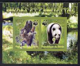 Benin 2008 WWF - Owls & Bears imperf sheetlet containing 2 values unmounted mint