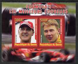 Benin 2008 Formula 1 - Great Drivers imperf sheetlet #1 containing 2 values (M Schumacher & M Hakkinen) unmounted mint