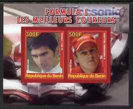 Benin 2008 Formula 1 - Great Drivers imperf sheetlet #3 containing 2 values (D Hill & K Raikkonen) unmounted mint
