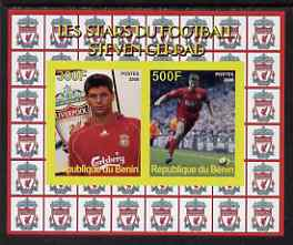 Benin 2008 Football Stars imperf sheetlet #1 containing 2 values (Steven Gerrad) unmounted mint