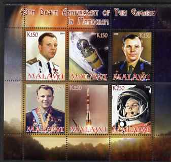 Malawi 2008 40th Death Anniversary of Yuri Gagarin perf sheetlet containing 6 values unmounted mint