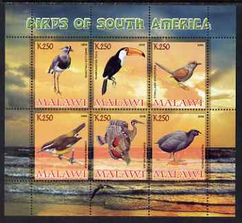 Malawi 2008 Birds of South America perf sheetlet containing 6 values unmounted mint