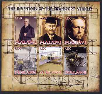 Malawi 2008 Transport Inventors #1 perf sheetlet containing 6 values unmounted mint
