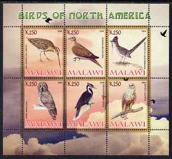 Malawi 2008 Birds of North America perf sheetlet containing 6 values unmounted mint