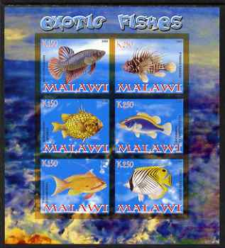 Malawi 2008 Exotic Fish imperf sheetlet containing 6 values unmounted mint