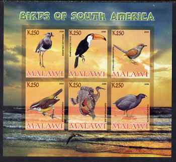 Malawi 2008 Birds of South America imperf sheetlet containing 6 values unmounted mint