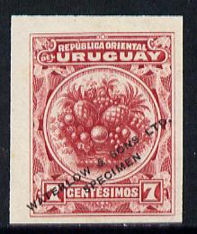 Uruguay 1900 Pineapple 7c Printer's sample in red (issued stamp was orange-brown) overprinted Waterlow & Sons SPECIMEN with security punch hole without gum, as SG 233