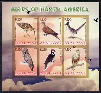 Malawi 2008 Birds of North America imperf sheetlet containing 6 values unmounted mint