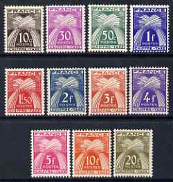 France 1943-46 Wheat Sheaves Postage Due complete set of 11 values unmounted mint, SG D787-97